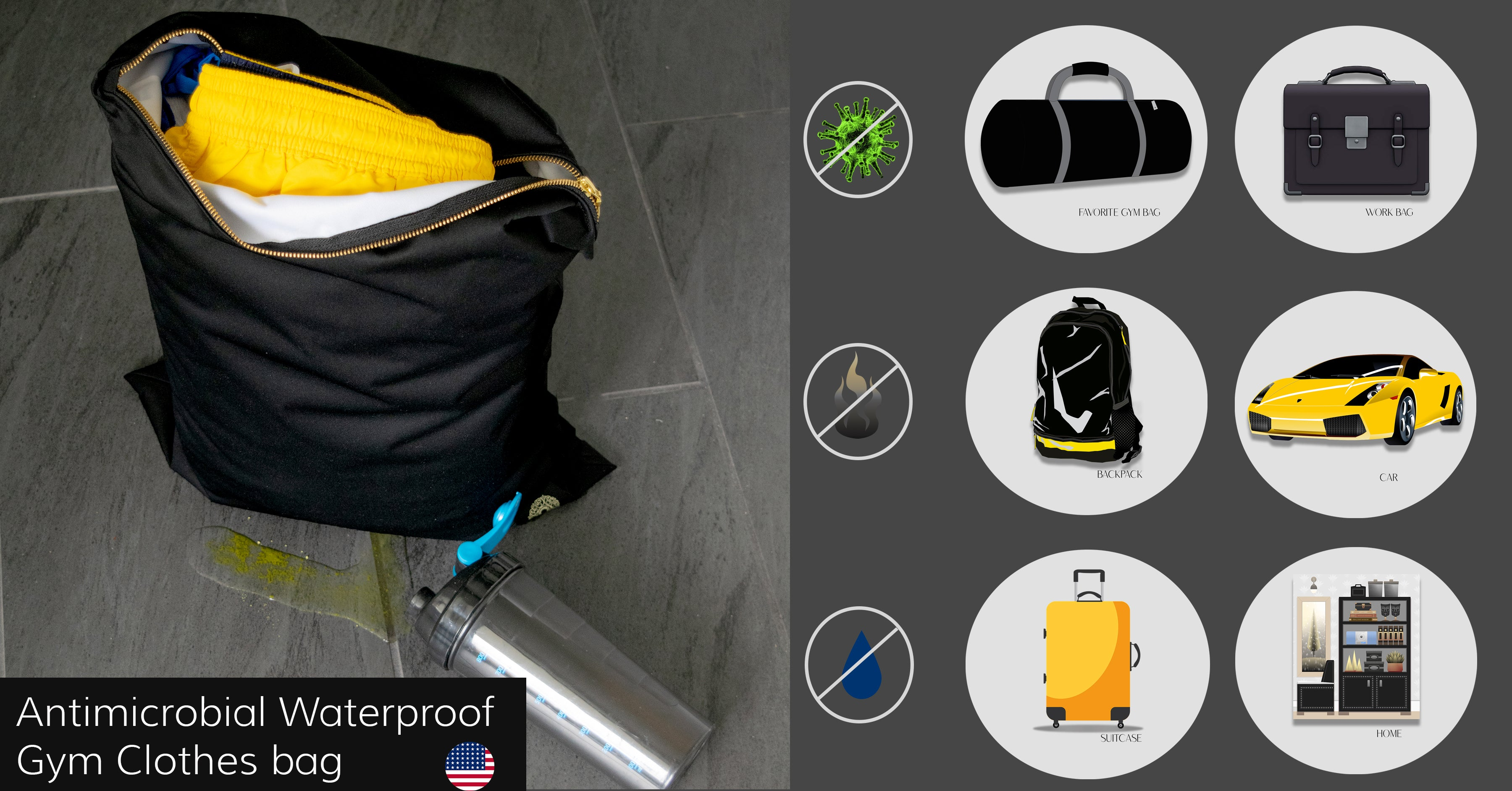 antimicrobial gym clothes bag