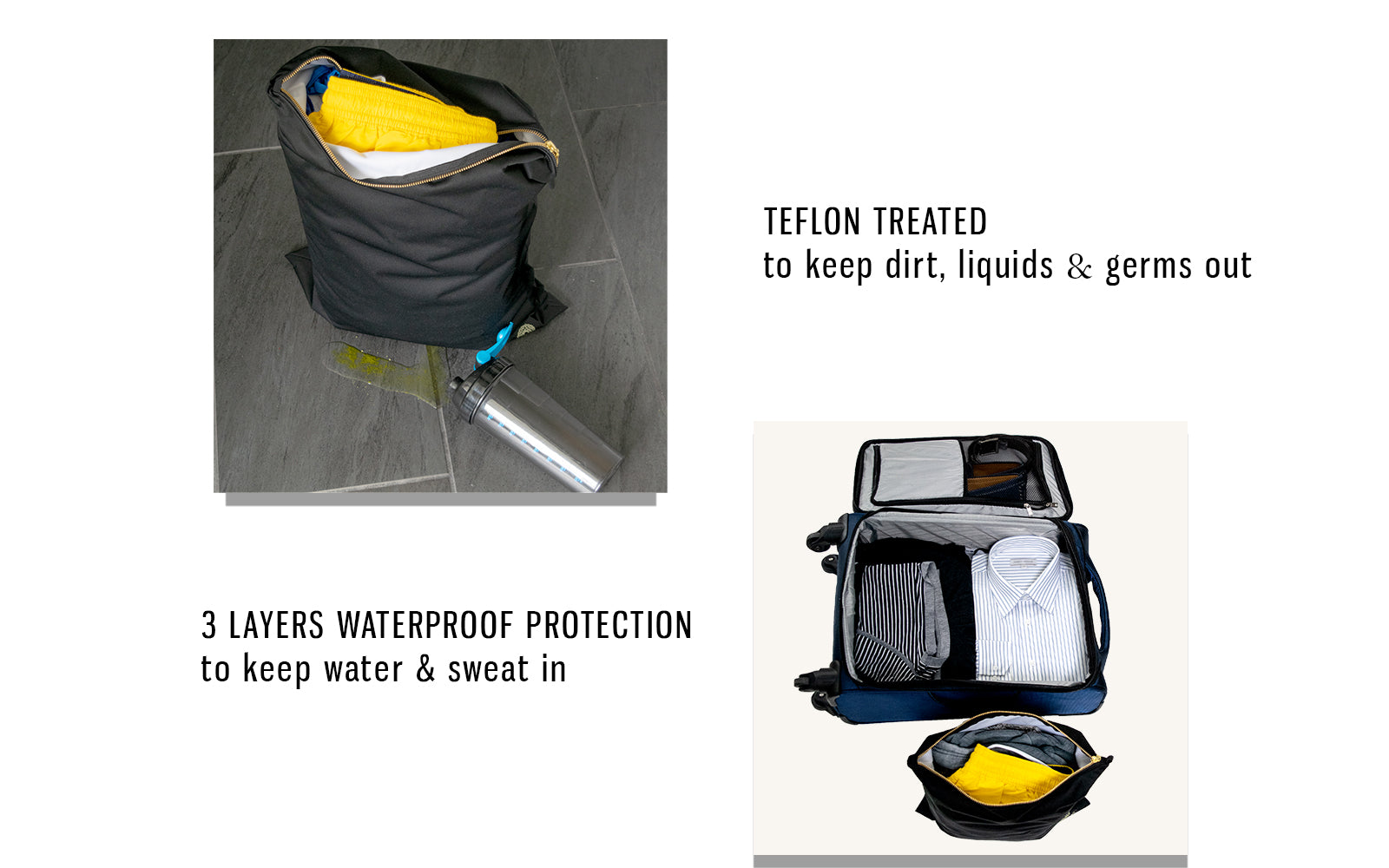 stain resistant gym clothes bag