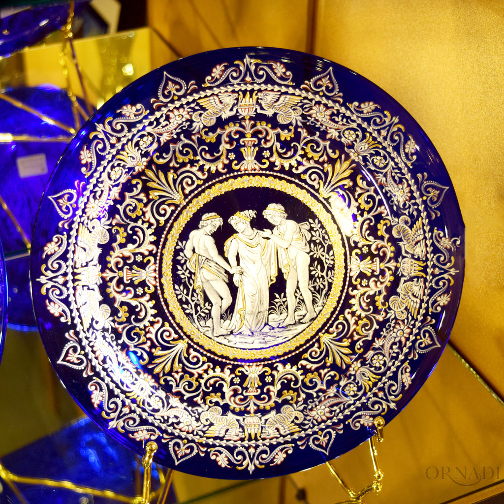 Venice Blue & Gold Glass Plate Ornadi