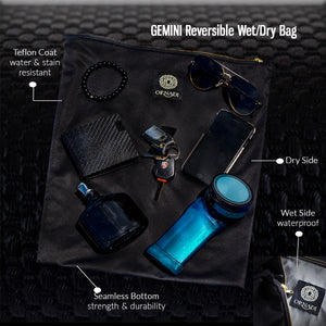 Gemini Black Wet / Dry Bag Exclusive Reversible Design Protects Your Phone, Keys & Valuables or Flip to Hold Wet Swim Suits Safely During Travel - Ornadi