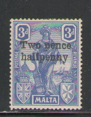 Malta Scott 115 1925 2 1/2 d ovpt on Statue stamp mint