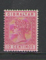 Gibraltar Scott  30 1889 10 centimos rose Victoria stamp mint