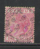 Cyprus Scott 21 1882 1 piastre rose Victoria stamp used