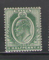 Malta Scott 30 1904 1/2d green Edward VII stamp mint