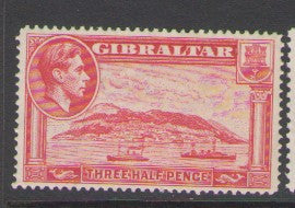 Gibraltar Scott  109 1937 1 1/2d car rose Rock of Gibraltar & George VI stamp mint