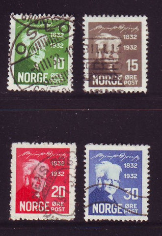 Norway Scott  154-7 1932 Bjornson stamp set used
