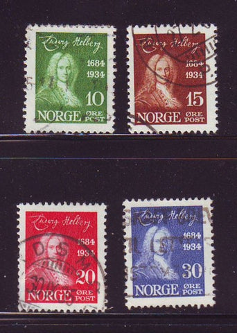 Norway Scott  158-61 1934 Holberg stamp set used