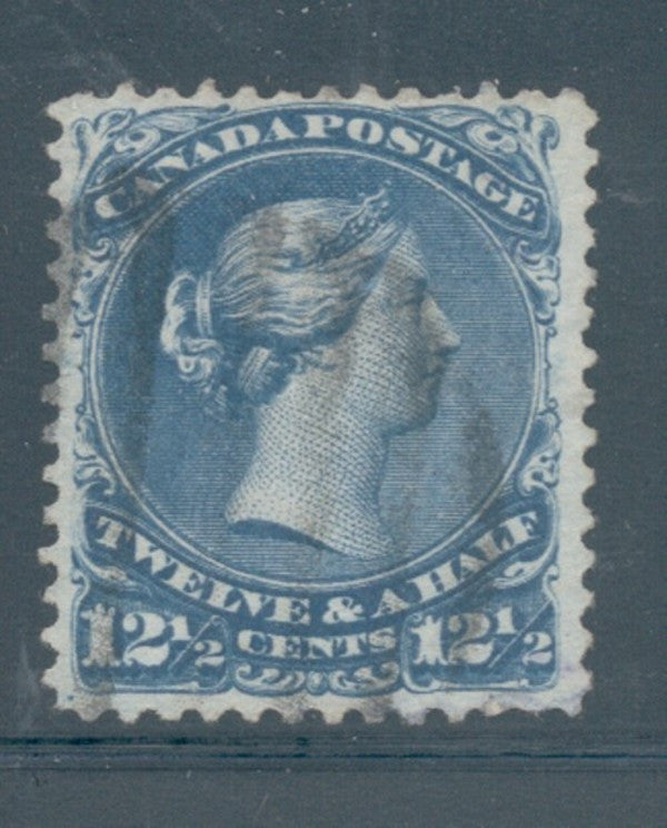 Canada Scott 28 1868 12 1/2c Blue Large Queen Victoria stamp used