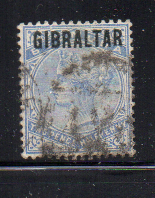 Gibraltar Scott 8 1886 2 1/2d blue Victoria stamp used