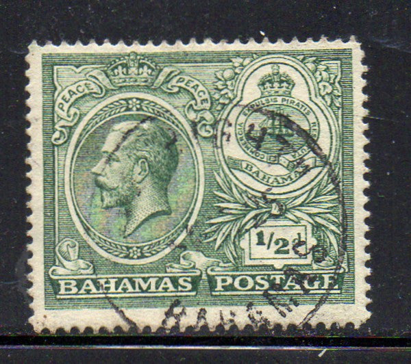 Bahamas Scott  65 1920 1/2d G V & Seal stamp used
