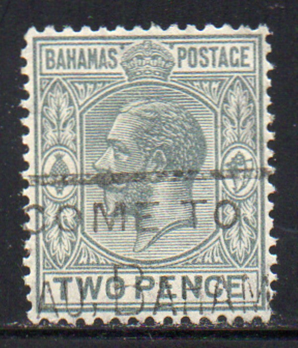 Bahamas Scott  74 1927 2d gray George V stamp used