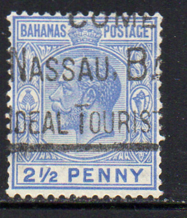 Bahamas Scott  75 1922 2 1/2d ultra George V stamp used
