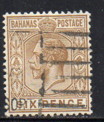 Bahamas Scott  79 1922 6d bistre brown George V stamp used