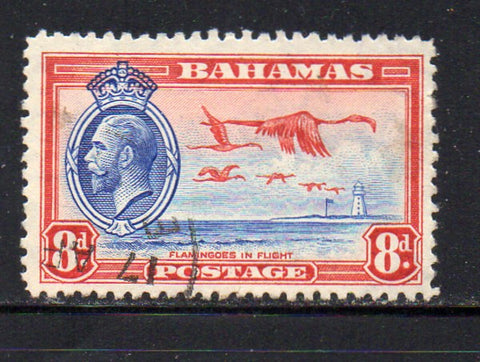 Bahamas Scott  96 1935 8d G V & Flamingo stamp used