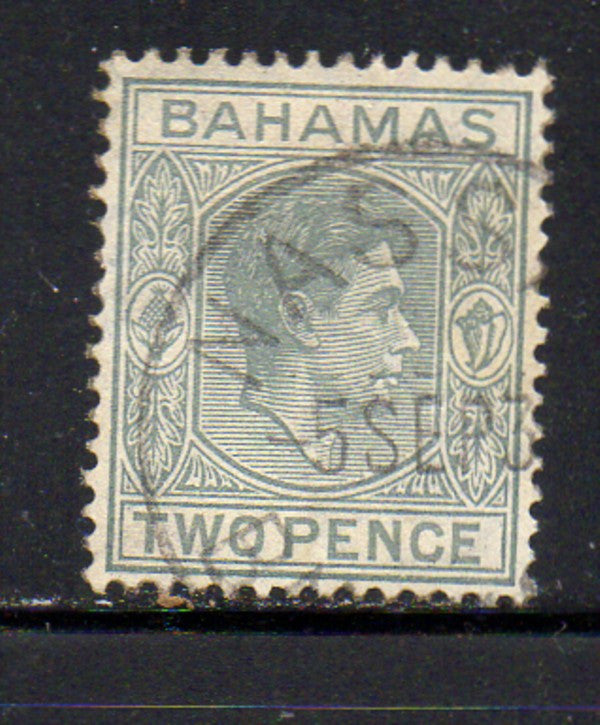 Bahamas Scott  103 1938 2d gray G VI stamp used