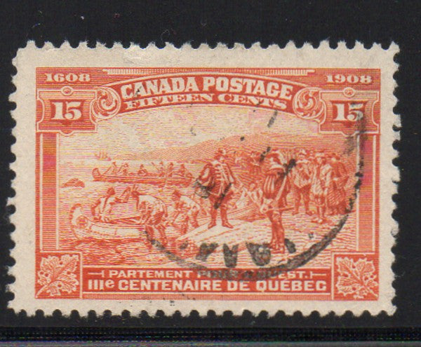 Canada Scott  102 1908 15c Champlain's Departure for the West stamp used