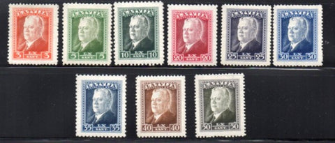 Latvia Scott  184-92 1937 President Ulmanis stamp set mint NH