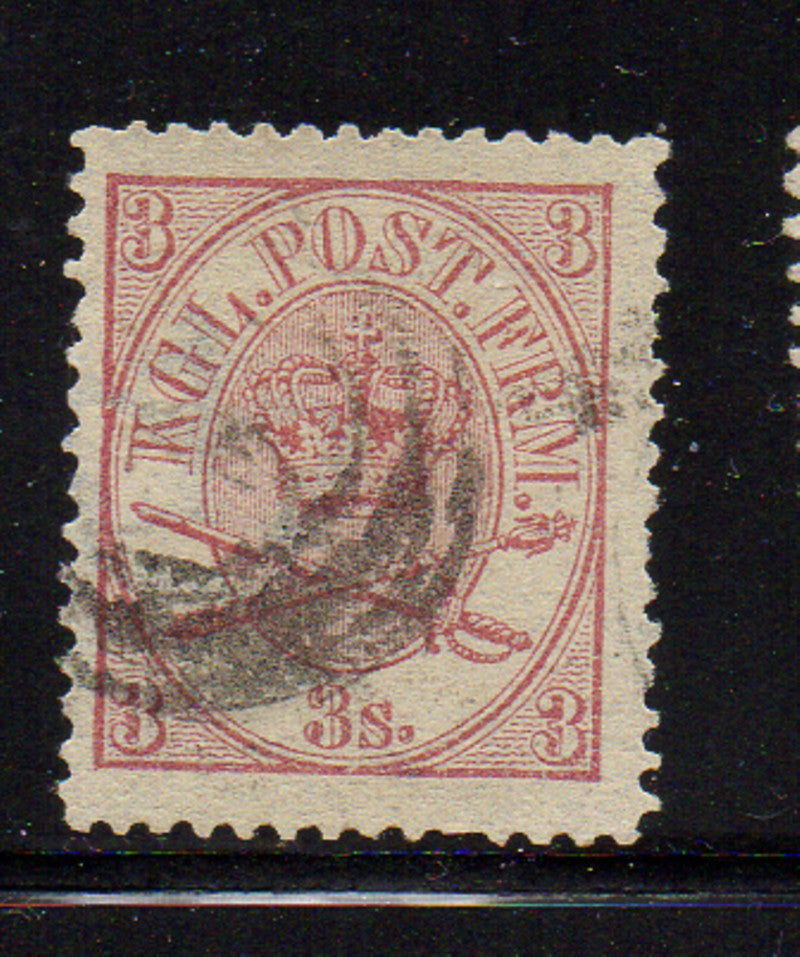 Denmark Scott  12 1865 8s red violet Royal Emblems stamp used