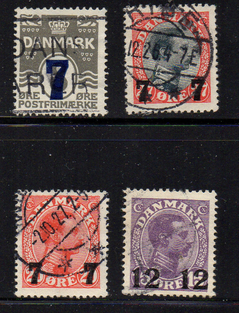 Denmark Scott  181-4 1926 7 & 12 ore surcharges stamp set used
