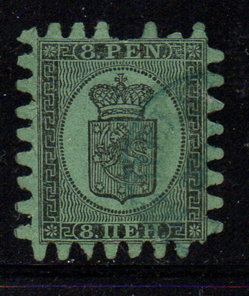 Finland Scott 7 1867 8p black on green Coat of Arms stamp rouletted