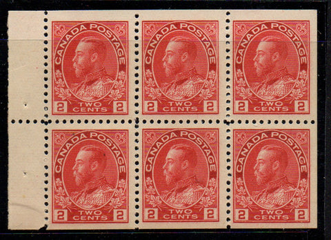 Canada Scott 106a 1911 2 cent carmine George V Admiral stamp booklet pane of 6 mint