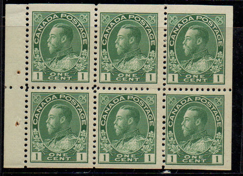 Canada Scott 104a 1911 1 c green George V Admiral booklet pane of 6 mint