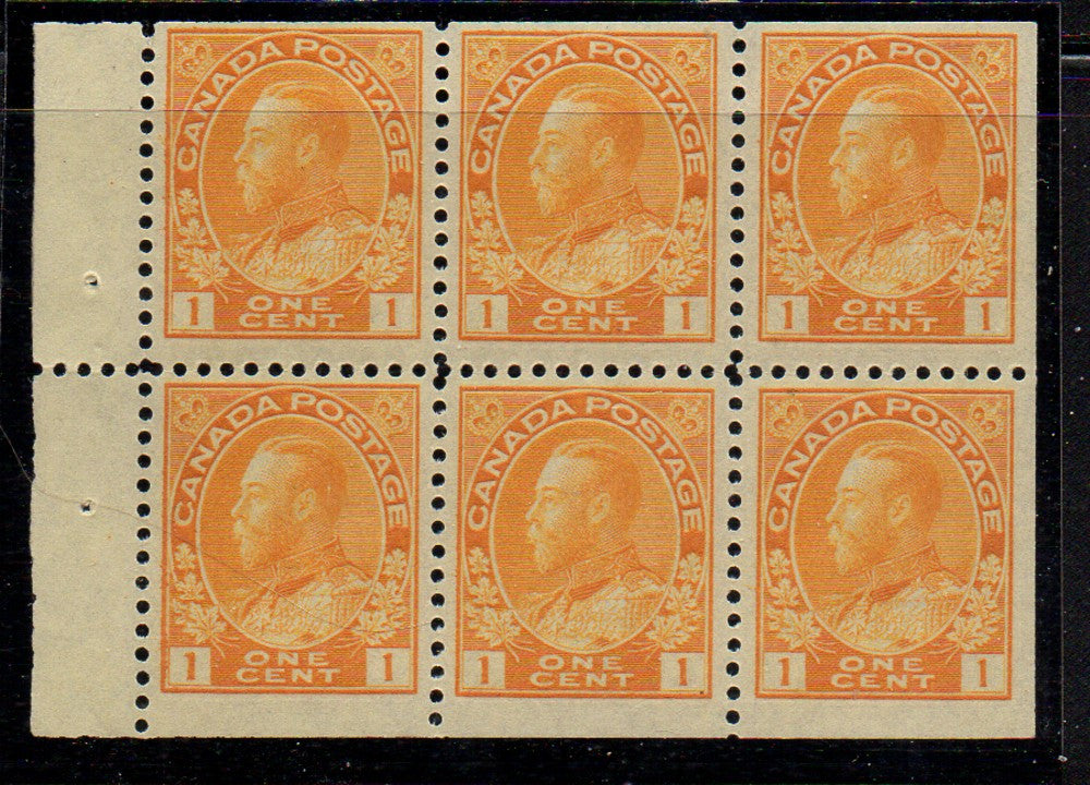 Canada Scott 105b 1922 1c yellow George V Admiral stamp booklet pane of 6 mint