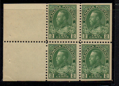 Canada Scott 107b 1912 1 c green George V Admiral booklet pane of 4 mint