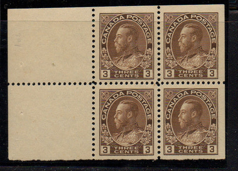 Canada Scott 108a 1918 3 cent brown George V Admiral stamp booklet pane of 4 mint