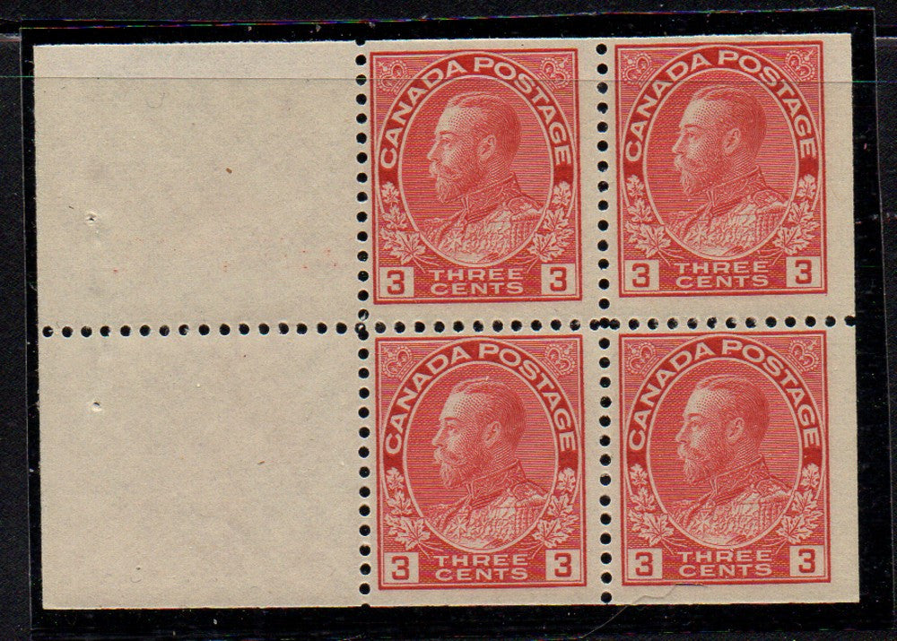 Canada Scott 109a 1923 3 cent  carmine George V Admiral stamp booklet pane of 4 mint