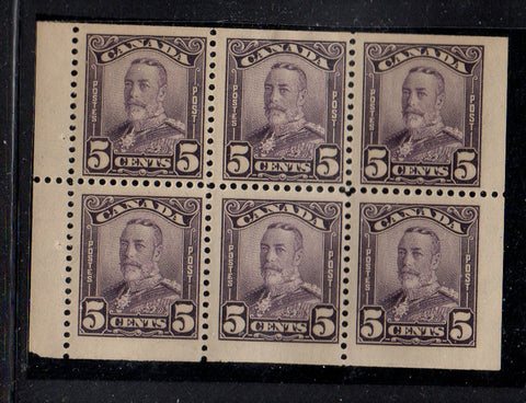 Canada Scott 152a 1928 5 c George V Scroll issue stamp booklet pane of 6 mint