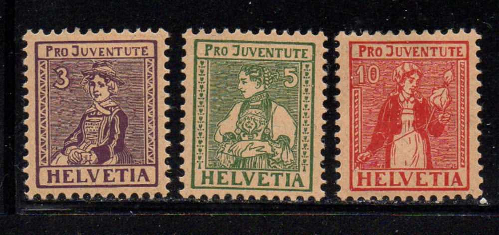 Switzerland Scott  B7-9 1917 Pro Juventute Charity stamp set mint