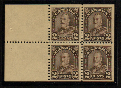Canada Scott 166a 1931 2 c brown George V Arch Issue stamp  booklet pane of 4 mint