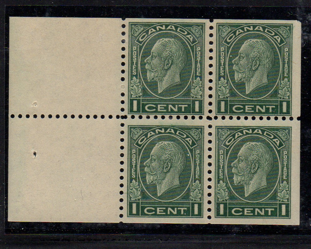 Canada Scott 195a 1933 1c green George V Medallion Issue stamp booklet pane of 4 mint