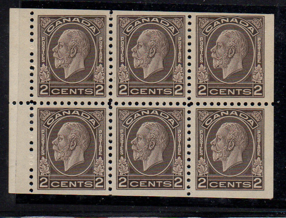 Canada Scott 196b 1933 2c brown George V Medallion Issue stamp booklet pane of 6 mint