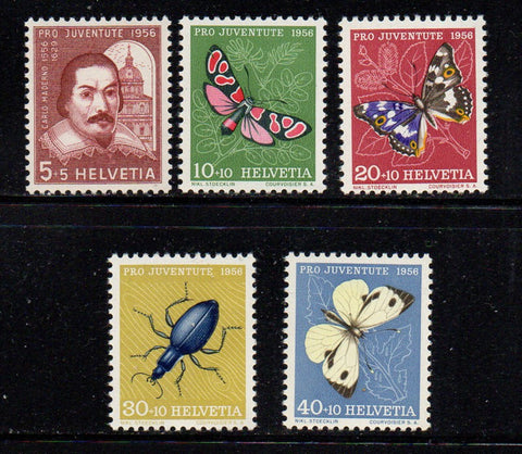 Switzerland Scott  B257-61 1956 Pro Juvente Charity stamp set mint NH