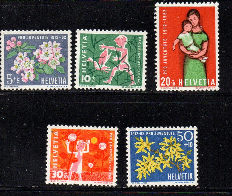 Switzerland Scott  B318-22 1962 Pro Juvente Charity stamp set mint NH