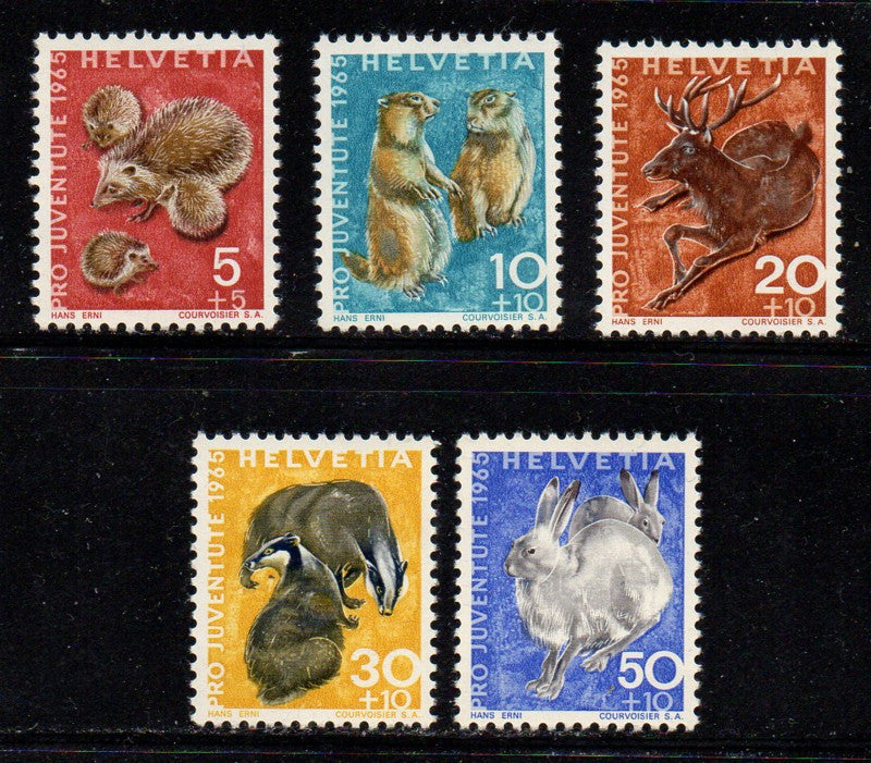 Switzerland Scott  B350-54 1965 Pro Juvente Charity stamp set mint NH