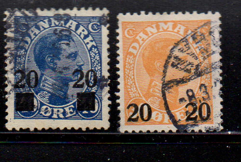 Denmark Scott  176-7 1926 20 ore Christian X surcharged stamp set used