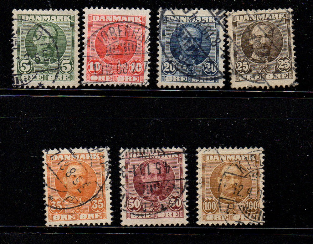 Denmark Scott  72-8 1907 Frederik VIII stamp set used