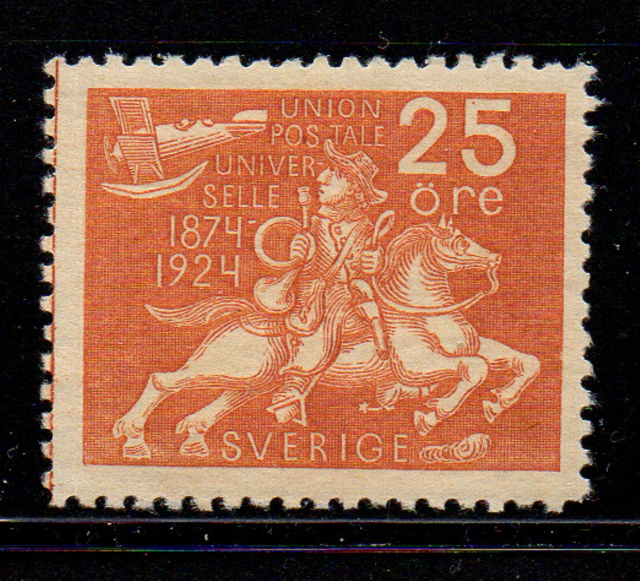 Sweden Scott  217 1924 25 ore UPU Post Rider & Airplane stamp mint