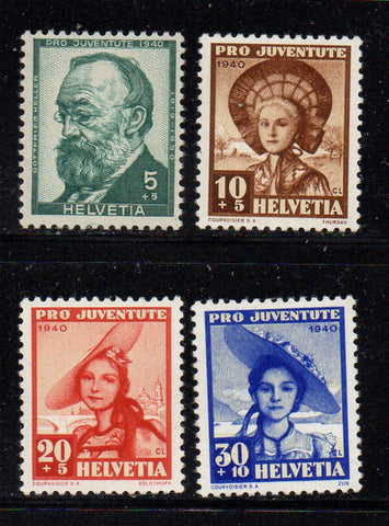 Switzerland Scott  B106-9 1940 Pro Juvente Charity stamp set mint