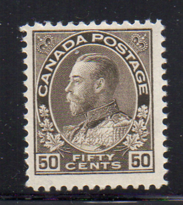Canada Scott  120 1925 50c black brown GV Admiral issue stamp mint