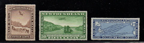 Newfoundland Scott  C6-8 1931 Airmail stamp set mint unwatermarked