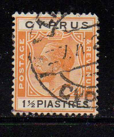 Cyprus Scott  95 1924 1 1/2 piastre orange & black George V stamp used