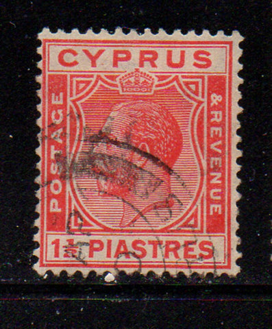 Cyprus Scott  96 1925 1 1/2 piastre carmine George V stamp used