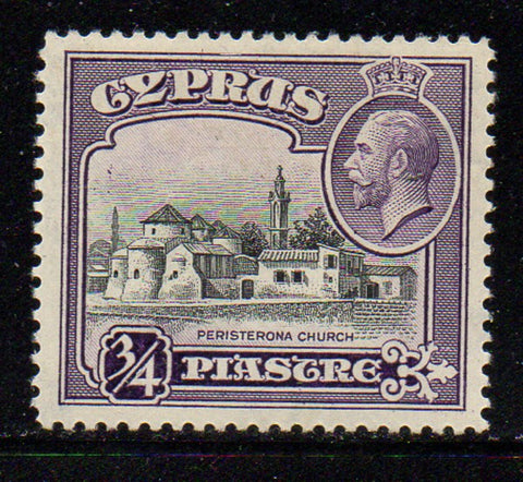 Cyprus Scott  127 1934 3/4 pi G V & Church stamp mint