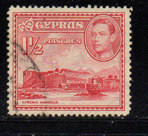 Cyprus Scott  147 1938  1 1/2 rose carmine G VI & Harbour stamp used