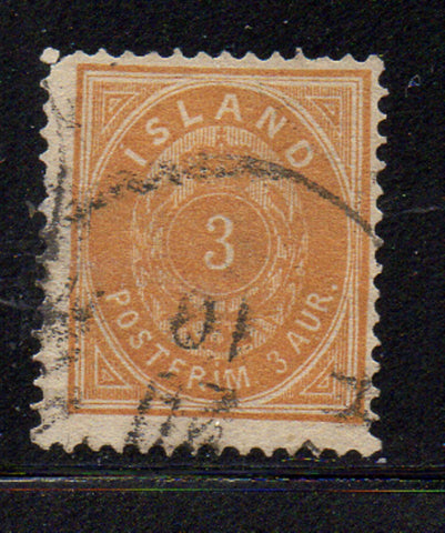 Iceland Scott  15 1882 3 aur orange stamp used