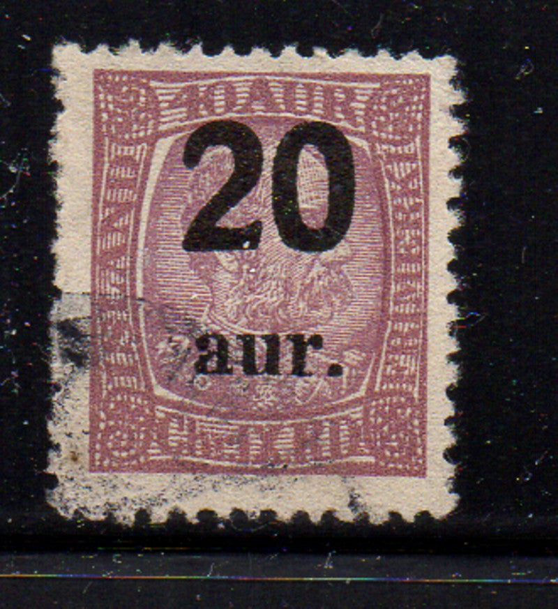Iceland Scott  134 1921 20 ur ovpt on 40 aur stamp used